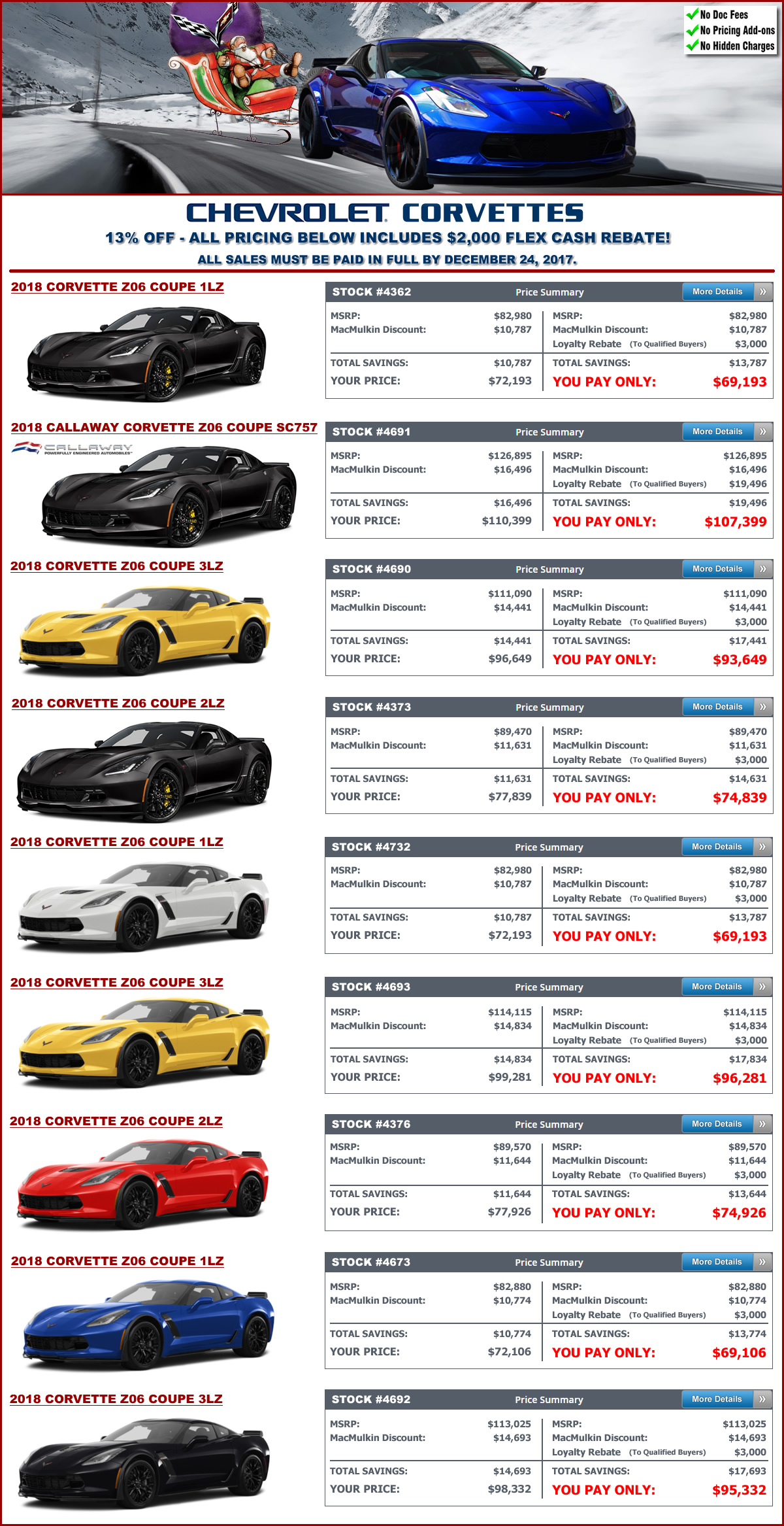 Largest Corvette Sale Ever 4 Days Only