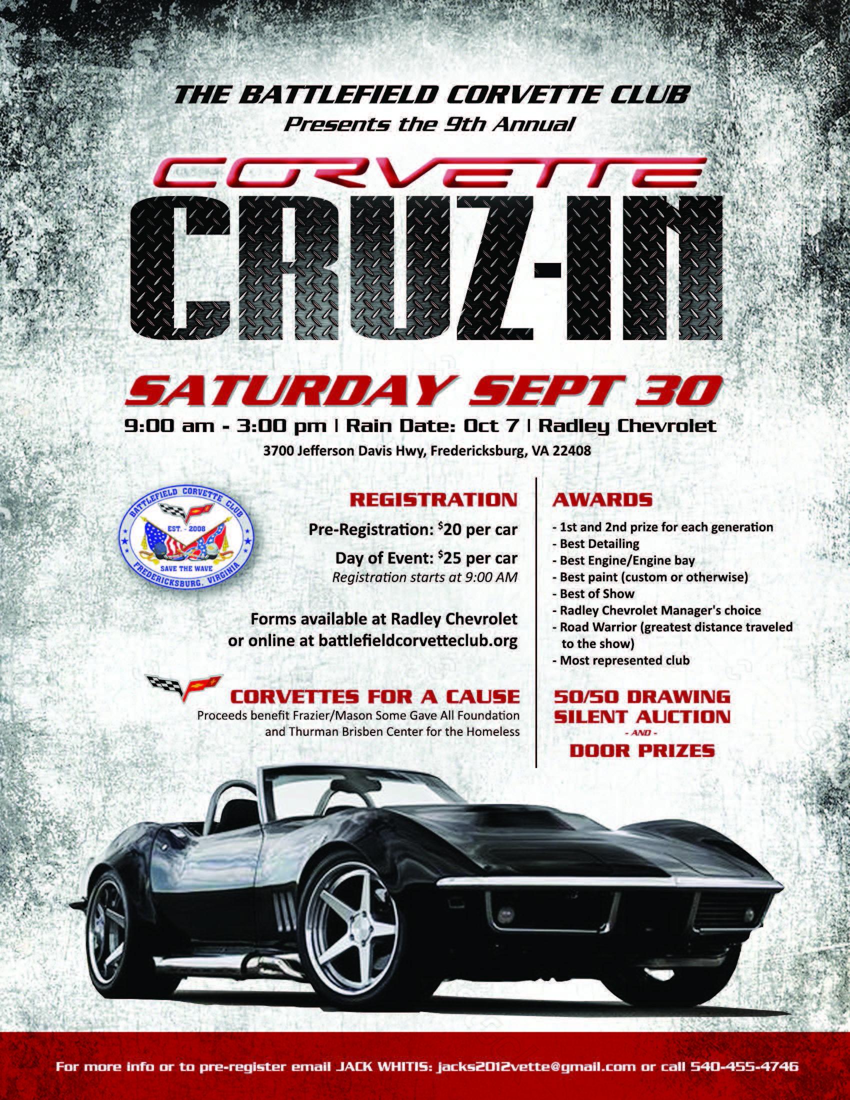 battlefield corvette club all corvette charity car show. Black Bedroom Furniture Sets. Home Design Ideas